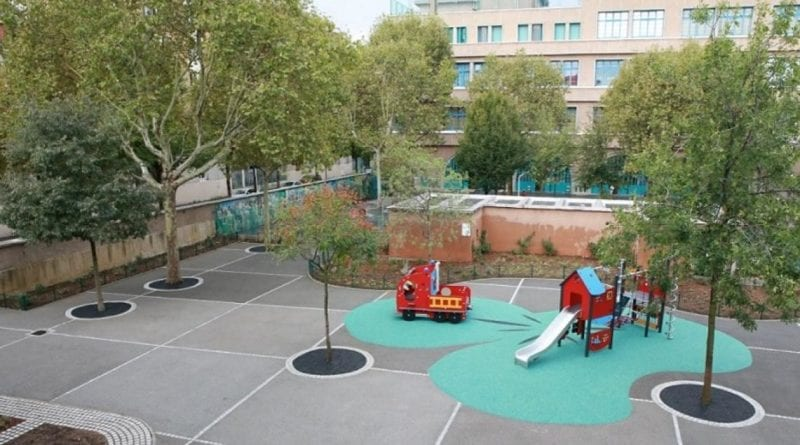 cour d'école verte